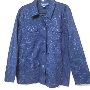 Susan Graver Style blue embroidered top/jacket